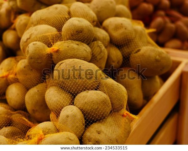 Potatoes market. Supermarket