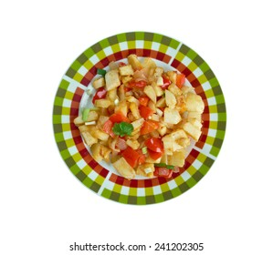 Potatoes O'Brien -  dish of pan-fried potatoes along with green and red bell peppers.