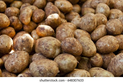 Potatoes on a market stall in Queensland, Australia. Full-frame, Background, Healthy Food