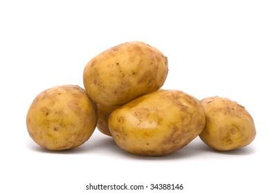 Potatoes on studio white