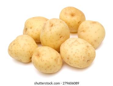potatoes on white background