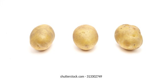 Potatoes on white background