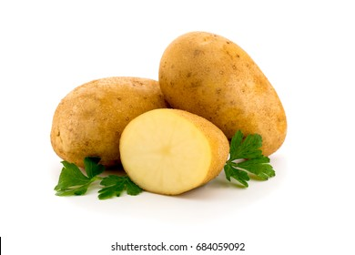 Potatoes with parsley leaves on white background