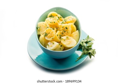 potatoes salad with parsley and  grated lemon peel