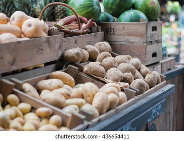 Potatoes For Sale At Fruit And Vegetable Market