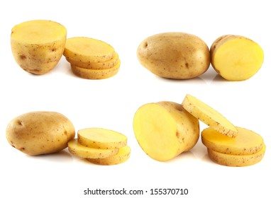 Potatoes set isolated on white background. Natural vegetable. Sliced new potatoes.