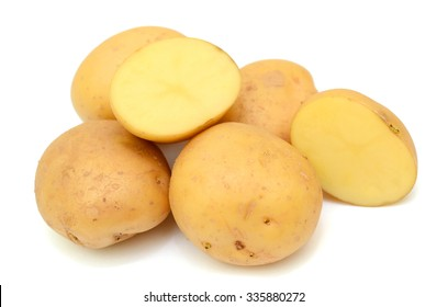 potatoes with slice isolated on white background
