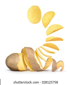 of potatoes turns into potato chips isolated on white background