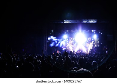 Potchefstroom, North West Province, South Africa 01302015 Jack Parrow live on stage at music festival singer with guitar crowd view with pyro sparks