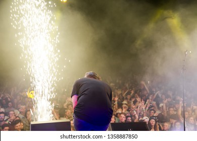 Potchefstroom, North West, South Africa 02 1 2019 band Bittereinder performing live at music rock festival on stage lead singer with pyro show