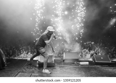 Potchefstroom, North West, South Africa  02 01 2018 live performance on stage by Bittereinder band at rock festival with pyro display