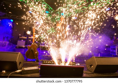 Potchefstroom, North West, South Africa 02 01 2018 live performance pyro on stage