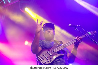 Potchefstroom, North West, South Africa, 02022018 Rubber Duc band live on stage show at a rock student alternative festival guitarist
