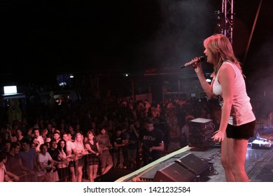 Potchefstroom, North West South Africa 02012013 Goodluck performing live on stage at rag festival Juliet with crowd