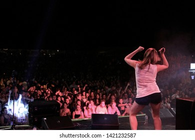 Potchefstroom, North West South Africa 02012013 Goodluck performing live on stage at rag festival Juliet dancing with crowd