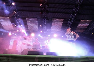 Potchefstroom, North West South Africa 02012013 Goodluck performing live on stage at rag festival dancing and singing