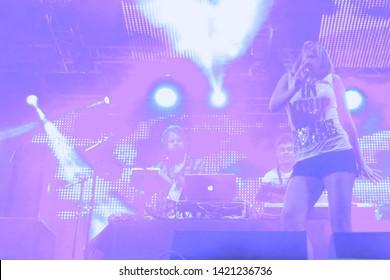 Potchefstroom, North West South Africa 02012013 Goodluck performing live on stage at rag festival Juliet singing