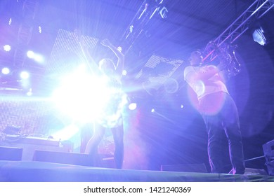 Potchefstroom, North West South Africa 02012013 Goodluck performing live on stage at rag festival bright light