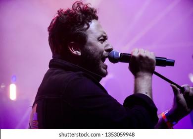 Potchefstroom, Nortwest, South Africa - 01 31 2019 live stage performance at a rock show concert singer singing high notes Hunter Kennedy