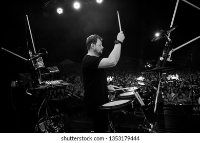 Potchefstroom, Nortwest, South Africa 01 31 2019 Live stage performance by dance band drummer playing drums Ben Peters Goodluck