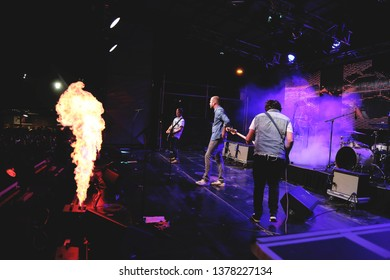 Potchefstrrom, North West South Africa 01292016 Die Heuwels Fantasties performing live on stage at festival guitarist with pyrotechnics flames