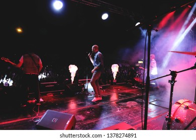 Potchefstrrom, North West South Africa 01292016 Die Heuwels Fantasties performing live on stage at festival with pyro flames