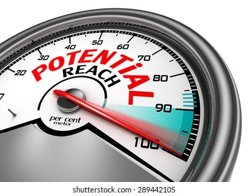 potential reach conceptual meter indicate hundred per cent, isolated on white background