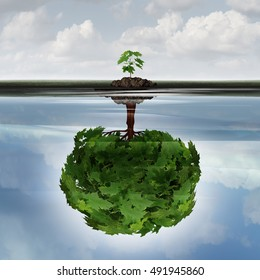 Potential success concept as a symbol for aspiration philosophy idea and determined growth as a sapling making a reflection  of a mature large tree in the water with 3D illustration elements.