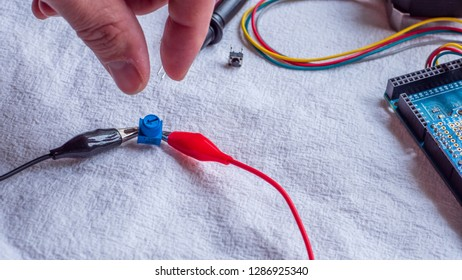 Potentiometer in use as part of a microcontroller build