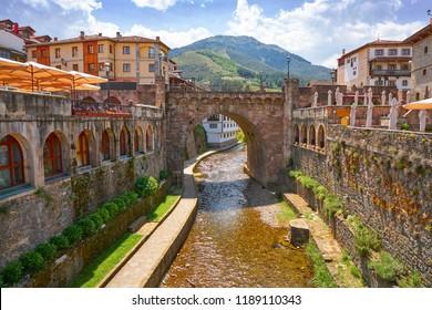 Potes river Quiviesa Deva a Cantabria village of Spain
