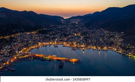 Pothia city in Kalymnos island Greece at night