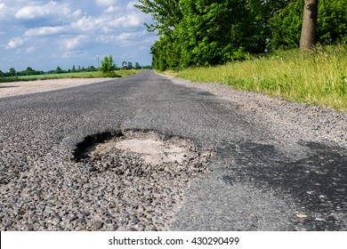 Pothole on a country road