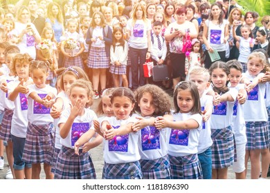 Poti, Georgia - 17.08.2018: flashmob of the school children at the beginning of school.
