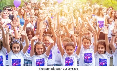 Poti, Georgia - 17.08.2018: flashmob of the school children at the beginning of school.