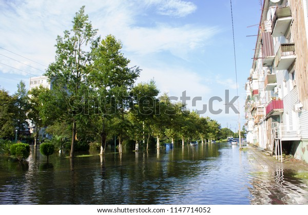Poti town, Georgia. 2th august of 2018. Flooded after a strong thunderstorm April nine avenue.