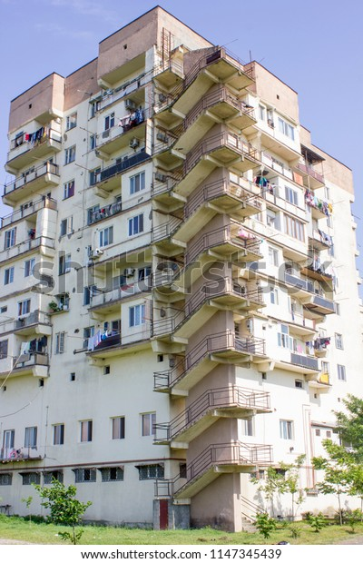 Poti town, Georgia. 31th july of 2018. A soviet era residential building.