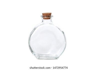 Potion Bottle Transparent Clear Glass Jar for Perfume, Liquid, Powder and potions. Cork lid, metal strap and rubber gasket