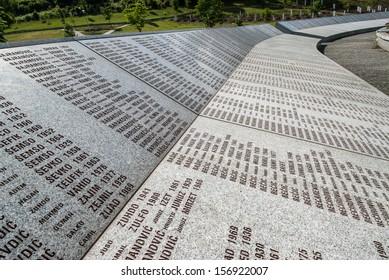 POTOCARI, BOSNIA AND HERZEGOVINA - JUNE 25: The Srebrenica Genocide Memorial on June 25, 2009 in Potocari, Bosnia and Herzegovina. More than 6.000 victims are buried in the memorial-cemetery complex.