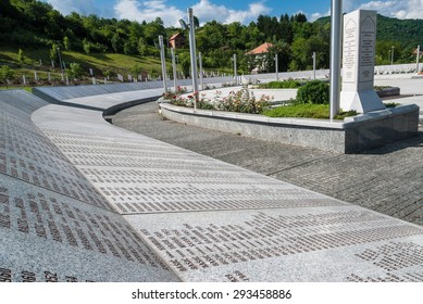 POTOCARI, BOSNIA AND HERZEGOVINA - JUNE 25, 2009: Part of the Srebrenica Genocide Memorial. More than 6.000 victims are buried in the memorial-cemetery complex, built thanks to various donations.