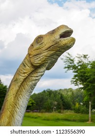 OVOLČJI POTOK, SLOVENIA - may 26th 2018: Dinosaur exhibition in botanic park Arboretum in Volcji Potok, Slovenia attracts young and old to Imagine what it would be like millions of years ago.