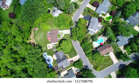Potomac, MD - May 30, 2018: An aerial drone view of an affluent residential neighborhood in Montgomery County.