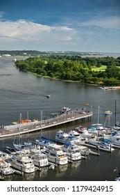 Potomac River boats docked in the marina and wharf in Washington DC USA