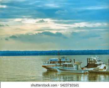 Potomac River Boats On The Blue Water In The Potomac River In Maryland USA May 4, 2019