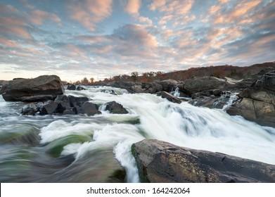 Potomac River Cascades Great Falls Park Sunrise Skies