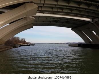 Potomac river underneath the Wilson bridge in Virginia