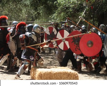 Potrero, CA / USA - May 26 2017: Members of The Society for Creative Anachronism engage in recreational phalanx combat during the Potrero War event, 2017.
