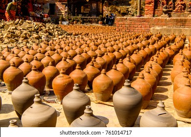 Pots in Bhaktapur,  an ancient Newar city in the east corner of the Kathmandu Valley, Nepal, UNESCO World Heritage Site