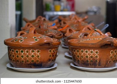 Pots and earthenware pots for food and buffet