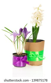The pots with flowers decorated by a tape, isolated on white