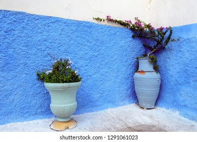 Pots with flowers on a street with blue painted walls in medina of Rabat, Morocco